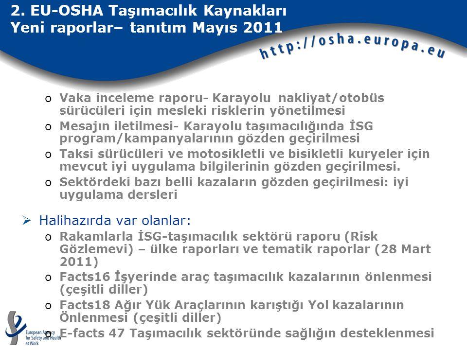 2. EU-OSHA Taşımacılık Kaynakları Yeni raporlar– tanıtım Mayıs 2011 oVaka inceleme raporu- Karayolu nakliyat/otobüs sürücüleri için mesleki risklerin