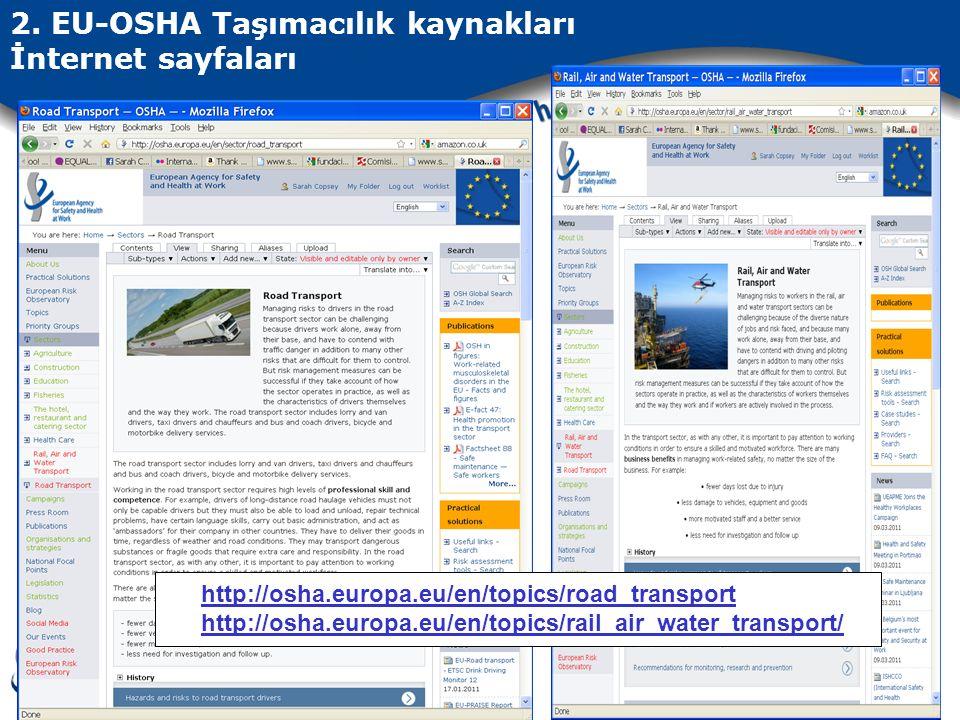 2. EU-OSHA Taşımacılık kaynakları İnternet sayfaları http://osha.europa.eu/en/topics/road_transport http://osha.europa.eu/en/topics/rail_air_water_tra