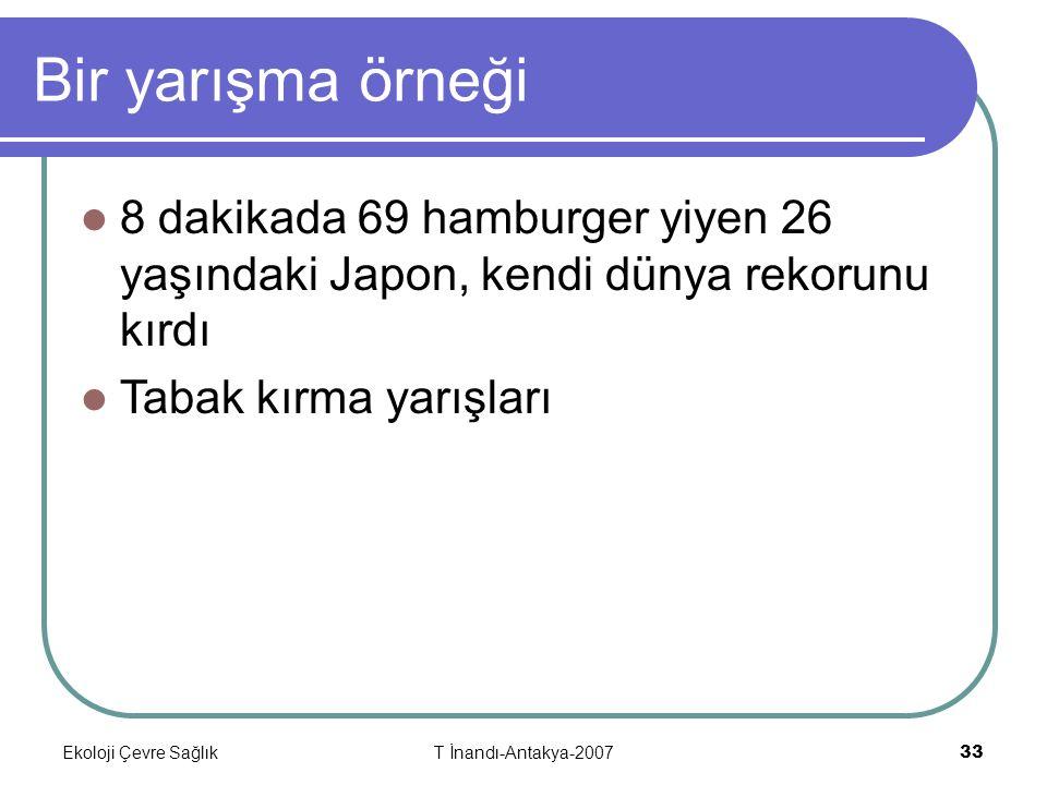 Ekoloji Çevre SağlıkT İnandı-Antakya-2007 33 Bir yarışma örneği 8 dakikada 69 hamburger yiyen 26 yaşındaki Japon, kendi dünya rekorunu kırdı Tabak kırma yarışları