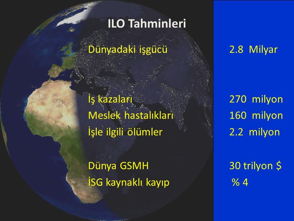 ILO Tahminleri Dünyadaki işgücü 2.8 Milyar İş kazaları 270 milyon Meslek hastalıkları 160 milyon İşle ilgili ölümler 2.2 milyon Dünya GSMH30 trilyon $