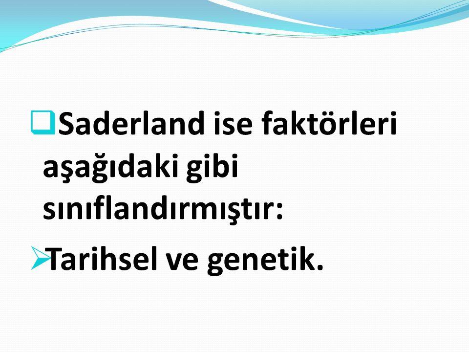  Saderland ise faktörleri aşağıdaki gibi sınıflandırmıştır:  Tarihsel ve genetik.