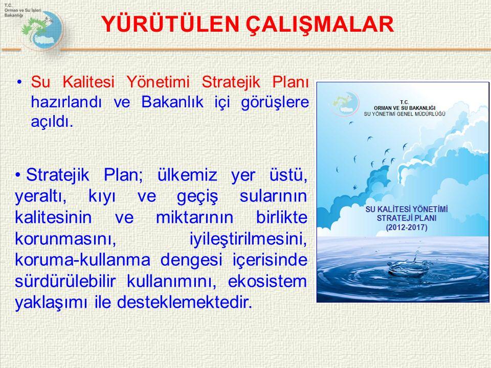 YÜRÜTÜLEN ÇALIŞMALAR Su Kalitesi Yönetimi Stratejik Planı hazırlandı ve Bakanlık içi görüşlere açıldı.