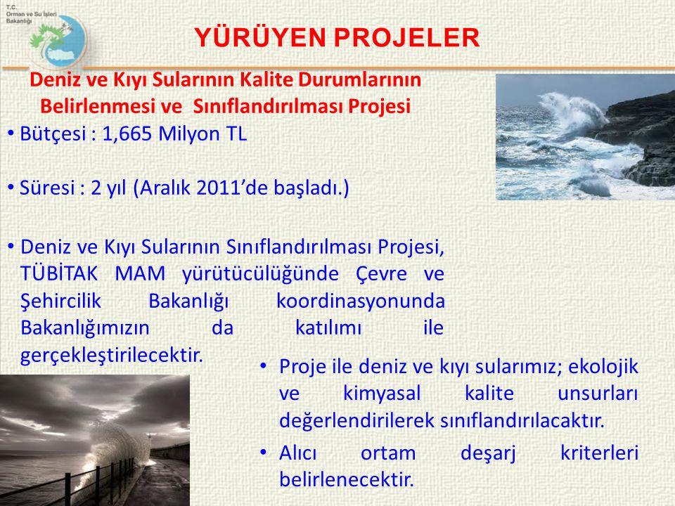 YÜRÜYEN PROJELER Deniz ve Kıyı Sularının Kalite Durumlarının Belirlenmesi ve Sınıflandırılması Projesi Bütçesi : 1,665 Milyon TL Süresi : 2 yıl (Aralık 2011'de başladı.) Deniz ve Kıyı Sularının Sınıflandırılması Projesi, TÜBİTAK MAM yürütücülüğünde Çevre ve Şehircilik Bakanlığı koordinasyonunda Bakanlığımızın da katılımı ile gerçekleştirilecektir.