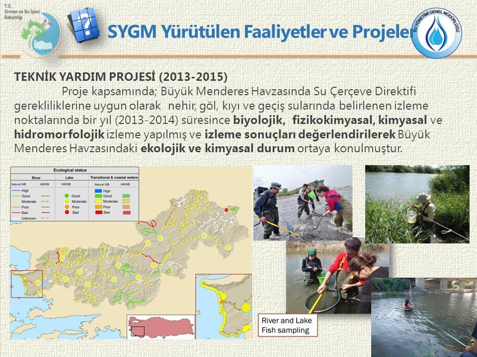 10 TEKNİK YARDIM PROJESİ (2013-2015) Proje kapsamında; Büyük Menderes Havzasında Su Çerçeve Direktifi gerekliliklerine uygun olarak nehir, göl, kıyı ve geçiş sularında belirlenen izleme noktalarında bir yıl (2013-2014) süresince biyolojik, fizikokimyasal, kimyasal ve hidromorfolojik izleme yapılmış ve izleme sonuçları değerlendirilerek Büyük Menderes Havzasındaki ekolojik ve kimyasal durum ortaya konulmuştur.