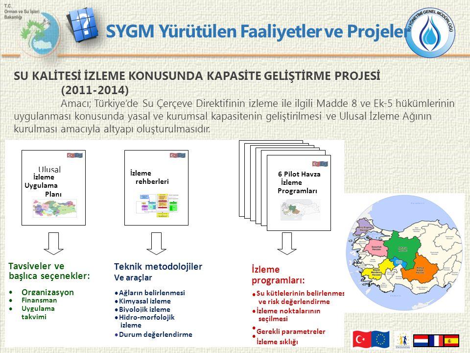 9 SU KALİTESİ İZLEME KONUSUNDA KAPASİTE GELİŞTİRME PROJESİ (2011-2014) Amacı; Türkiye'de Su Çerçeve Direktifinin izleme ile ilgili Madde 8 ve Ek-5 hükümlerinin uygulanması konusunda yasal ve kurumsal kapasitenin geliştirilmesi ve Ulusal İzleme Ağının kurulması amacıyla altyapı oluşturulmasıdır.