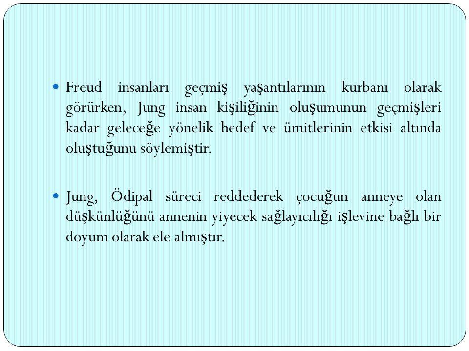 Freud insanları geçmi ş ya ş antılarının kurbanı olarak görürken, Jung insan ki ş ili ğ inin olu ş umunun geçmi ş leri kadar gelece ğ e yönelik hedef