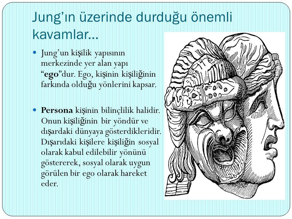 """Jung'ın üzerinde durduğu önemli kavamlar... Jung'un ki ş ilik yapısının merkezinde yer alan yapı """"ego""""dur. Ego, ki ş inin ki ş ili ğ inin farkında old"""
