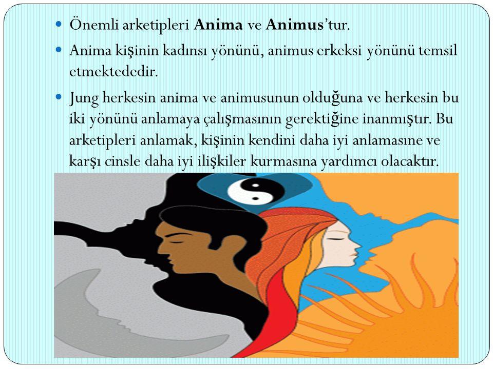 Önemli arketipleri Anima ve Animus'tur. Anima ki ş inin kadınsı yönünü, animus erkeksi yönünü temsil etmektededir. Jung herkesin anima ve animusunun o