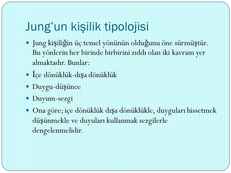 Jung'un kişilik tipolojisi Jung ki ş ili ğ in üç temel yönünün oldu ğ unu öne sürmü ş tür. Bu yönlerin her birinde birbirini zıddı olan iki kavram yer