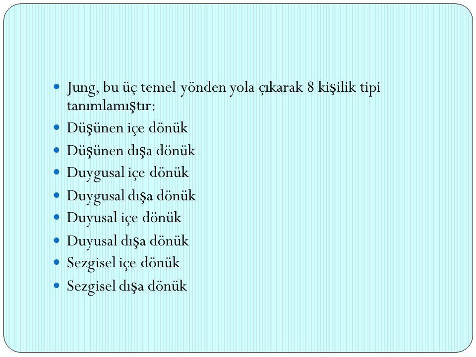 Jung, bu üç temel yönden yola çıkarak 8 ki ş ilik tipi tanımlamı ş tır: Dü ş ünen içe dönük Dü ş ünen dı ş a dönük Duygusal içe dönük Duygusal dı ş a