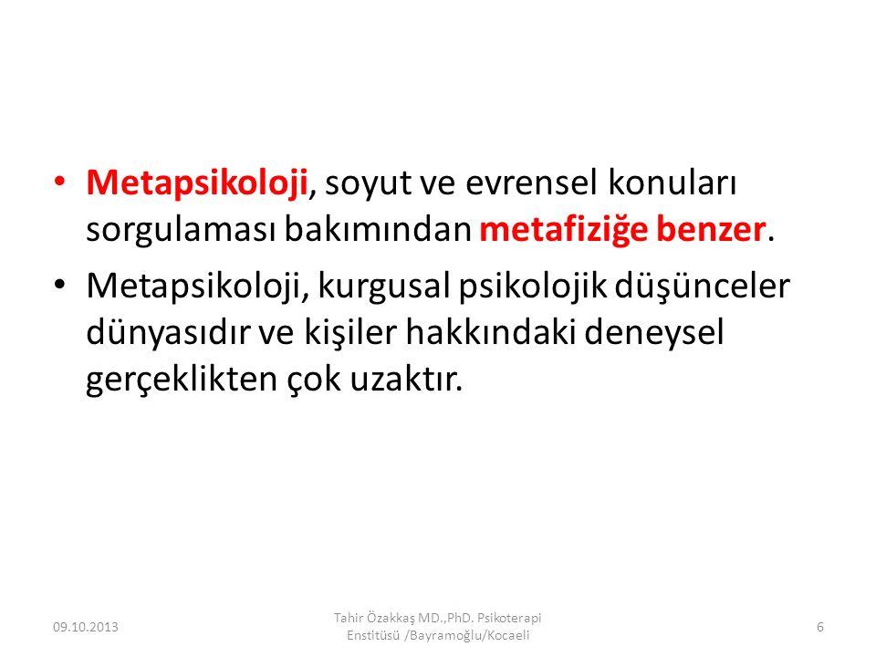 Metapsikoloji, soyut ve evrensel konuları sorgulaması bakımından metafiziğe benzer. Metapsikoloji, kurgusal psikolojik düşünceler dünyasıdır ve kişile