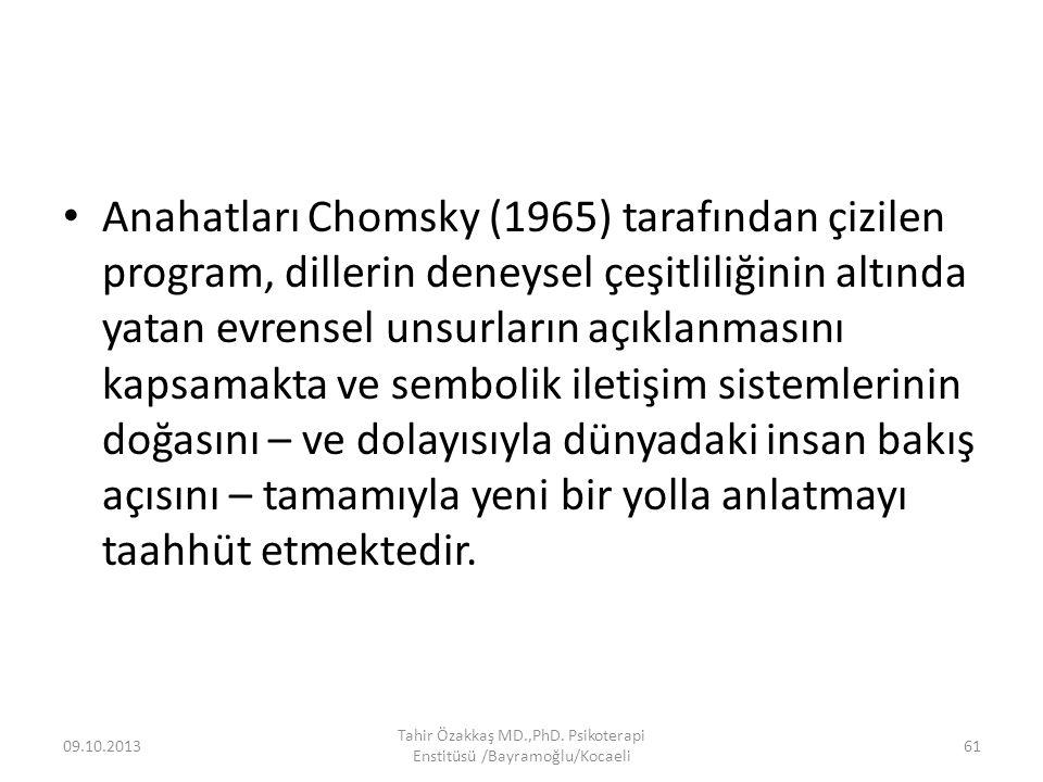 Anahatları Chomsky (1965) tarafından çizilen program, dillerin deneysel çeşitliliğinin altında yatan evrensel unsurların açıklanmasını kapsamakta ve sembolik iletişim sistemlerinin doğasını – ve dolayısıyla dünyadaki insan bakış açısını – tamamıyla yeni bir yolla anlatmayı taahhüt etmektedir.