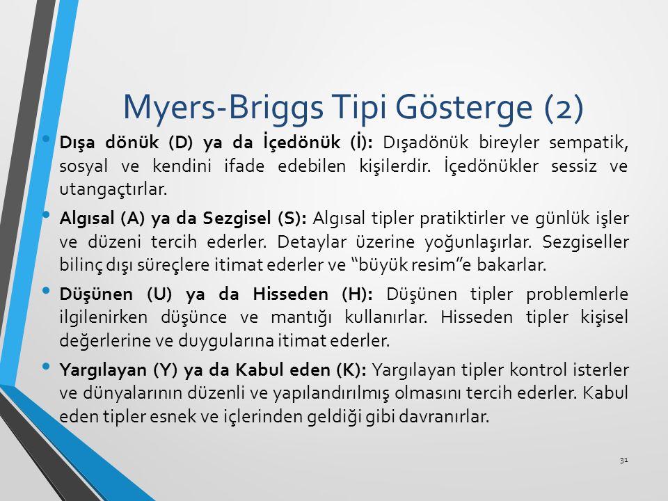 Myers-Briggs Tipi Gösterge (2) Dışa dönük (D) ya da İçedönük (İ): Dışadönük bireyler sempatik, sosyal ve kendini ifade edebilen kişilerdir. İçedönükle