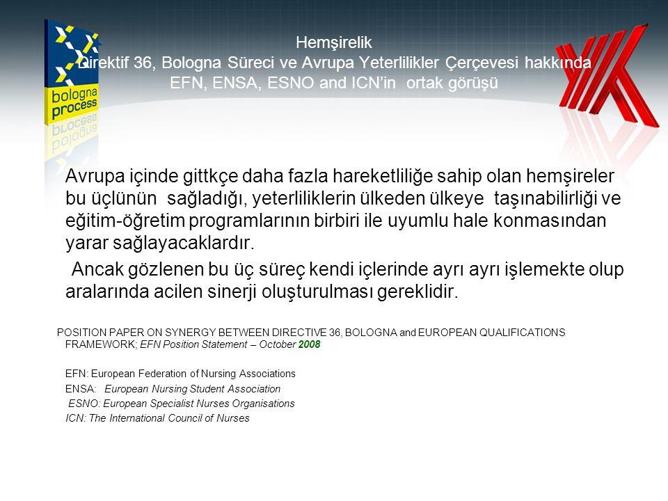 Hemşirelik Direktif 36, Bologna Süreci ve Avrupa Yeterlilikler Çerçevesi hakkında EFN, ENSA, ESNO and ICN'in ortak görüşü Avrupa içinde gittkçe daha fazla hareketliliğe sahip olan hemşireler bu üçlünün sağladığı, yeterliliklerin ülkeden ülkeye taşınabilirliği ve eğitim-öğretim programlarının birbiri ile uyumlu hale konmasından yarar sağlayacaklardır.