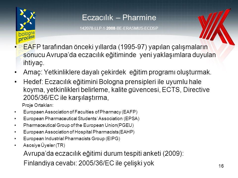 Eczacılık – Pharmine 142078-LLP-1-2008-BE-ERASMUS-ECDSP EAFP tarafından önceki yıllarda (1995-97) yapılan çalışmaların sonucu Avrupa'da eczacılık eğitiminde yeni yaklaşımlara duyulan ihtiyaç.