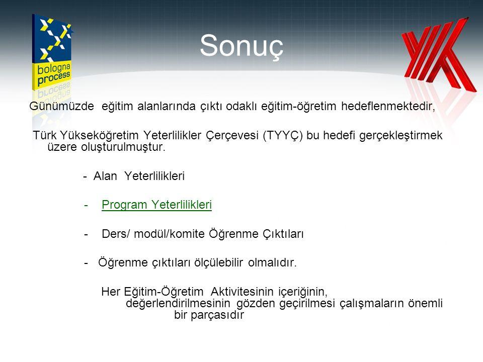 Sonuç Günümüzde eğitim alanlarında çıktı odaklı eğitim-öğretim hedeflenmektedir, Türk Yükseköğretim Yeterlilikler Çerçevesi (TYYÇ) bu hedefi gerçekleştirmek üzere oluşturulmuştur.