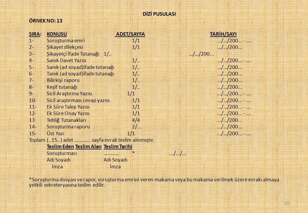 DİZİ PUSULASI ÖRNEK NO: 13 SIRA:KONUSU ADET/SAYFA TARİH/SAYI 1- Soruşturma emri1/1…/…/200...