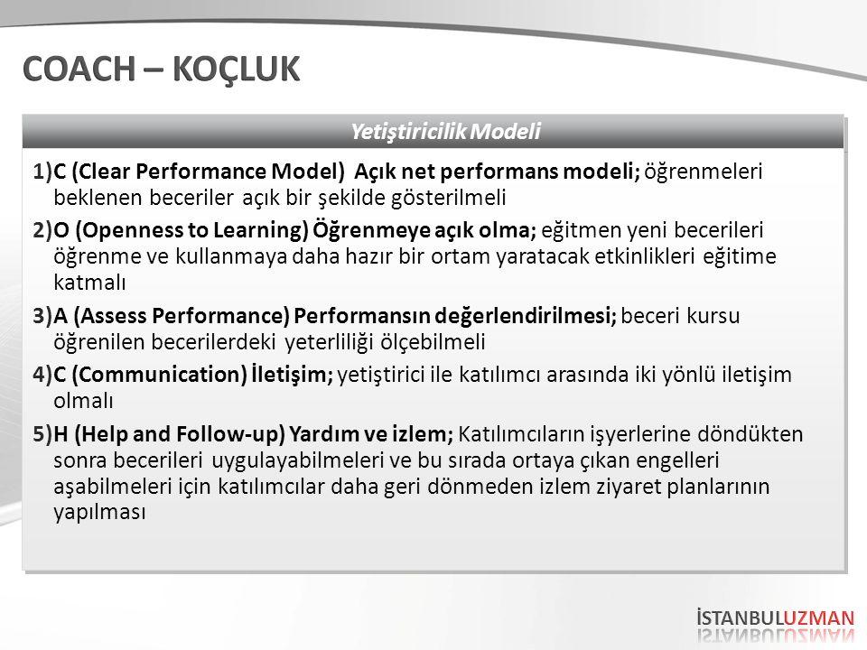 Yetiştiricilik Modeli 1)C (Clear Performance Model) Açık net performans modeli; öğrenmeleri beklenen beceriler açık bir şekilde gösterilmeli 2)O (Open
