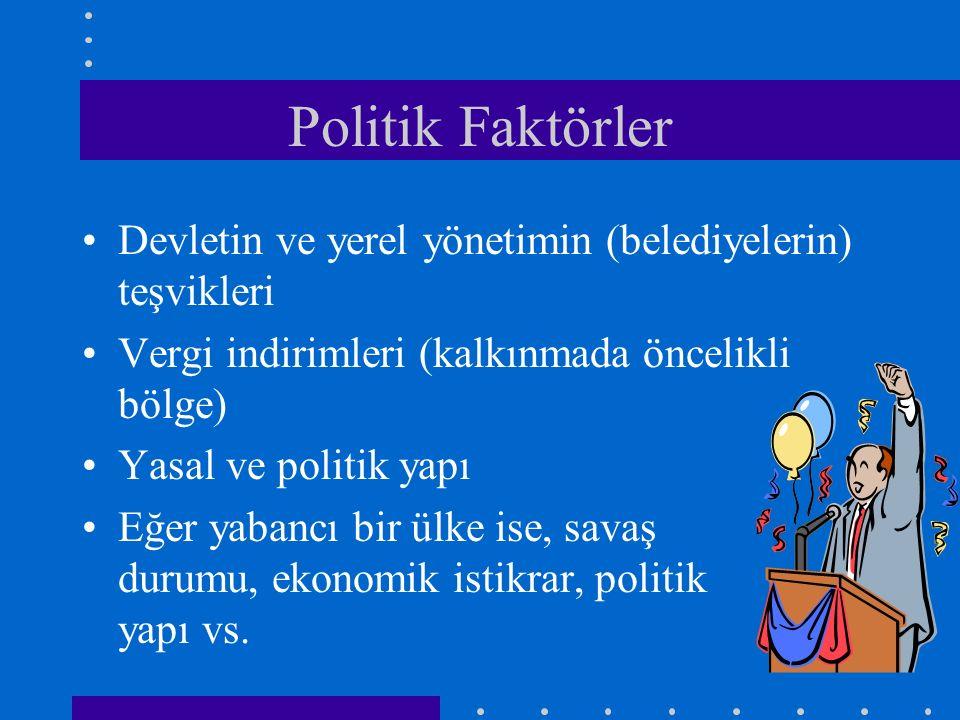 Politik Faktörler Devletin ve yerel yönetimin (belediyelerin) teşvikleri Vergi indirimleri (kalkınmada öncelikli bölge) Yasal ve politik yapı Eğer yab