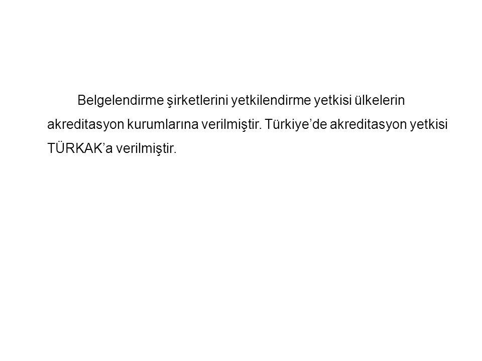 Belgelendirme şirketlerini yetkilendirme yetkisi ülkelerin akreditasyon kurumlarına verilmiştir. Türkiye'de akreditasyon yetkisi TÜRKAK'a verilmiştir.