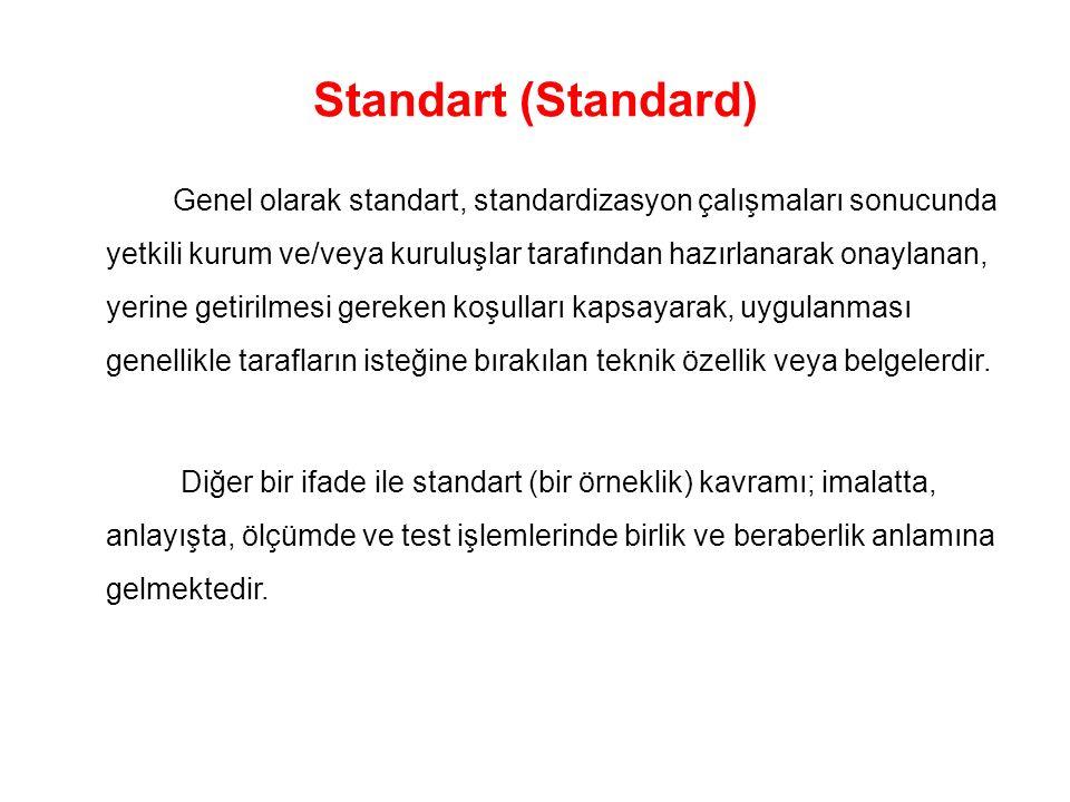 Standart (Standard) Genel olarak standart, standardizasyon çalışmaları sonucunda yetkili kurum ve/veya kuruluşlar tarafından hazırlanarak onaylanan, yerine getirilmesi gereken koşulları kapsayarak, uygulanması genellikle tarafların isteğine bırakılan teknik özellik veya belgelerdir.