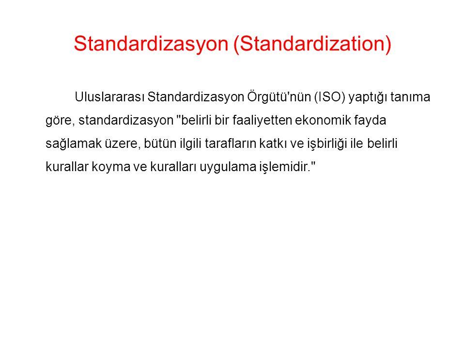 Standardizasyon (Standardization) Uluslararası Standardizasyon Örgütü nün (ISO) yaptığı tanıma göre, standardizasyon belirli bir faaliyetten ekonomik fayda sağlamak üzere, bütün ilgili tarafların katkı ve işbirliği ile belirli kurallar koyma ve kuralları uygulama işlemidir.