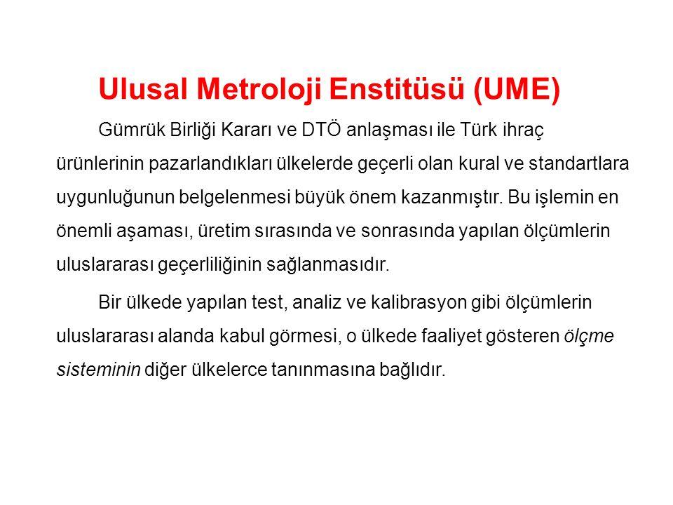 Ulusal Metroloji Enstitüsü (UME) Gümrük Birliği Kararı ve DTÖ anlaşması ile Türk ihraç ürünlerinin pazarlandıkları ülkelerde geçerli olan kural ve sta
