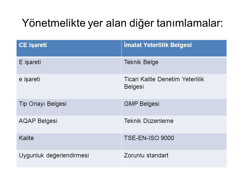 Yönetmelikte yer alan diğer tanımlamalar: CE işaretiİmalat Yeterlilik Belgesi E işaretiTeknik Belge e işaretiTicari Kalite Denetim Yeterlilik Belgesi Tip Onayı BelgesiGMP Belgesi AQAP BelgesiTeknik Düzenleme KaliteTSE-EN-ISO 9000 Uygunluk değerlendirmesiZorunlu standart