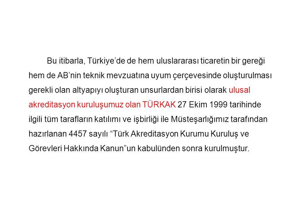 Bu itibarla, Türkiye'de de hem uluslararası ticaretin bir gereği hem de AB'nin teknik mevzuatına uyum çerçevesinde oluşturulması gerekli olan altyapıy