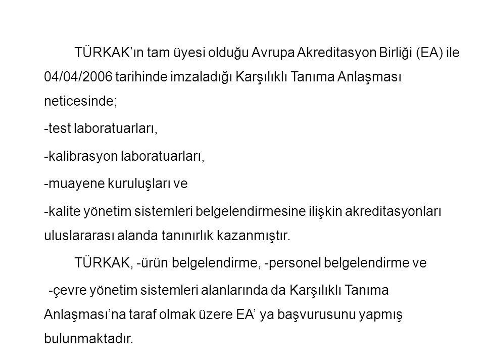 TÜRKAK'ın tam üyesi olduğu Avrupa Akreditasyon Birliği (EA) ile 04/04/2006 tarihinde imzaladığı Karşılıklı Tanıma Anlaşması neticesinde; -test laborat