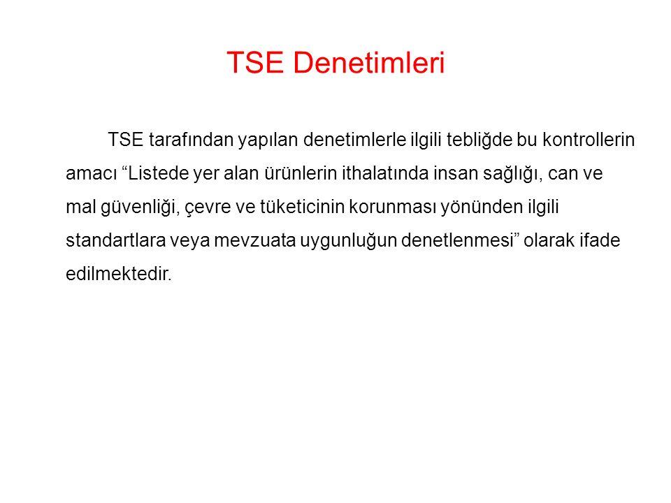 TSE Denetimleri TSE tarafından yapılan denetimlerle ilgili tebliğde bu kontrollerin amacı Listede yer alan ürünlerin ithalatında insan sağlığı, can ve mal güvenliği, çevre ve tüketicinin korunması yönünden ilgili standartlara veya mevzuata uygunluğun denetlenmesi olarak ifade edilmektedir.