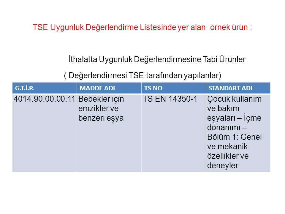 TSE Uygunluk Değerlendirme Listesinde yer alan örnek ürün : İthalatta Uygunluk Değerlendirmesine Tabi Ürünler ( Değerlendirmesi TSE tarafından yapılanlar) G.T.İ.P.MADDE ADITS NOSTANDART ADI 4014.90.00.00.11Bebekler için emzikler ve benzeri eşya TS EN 14350-1Çocuk kullanım ve bakım eşyaları – İçme donanımı – Bölüm 1: Genel ve mekanik özellikler ve deneyler