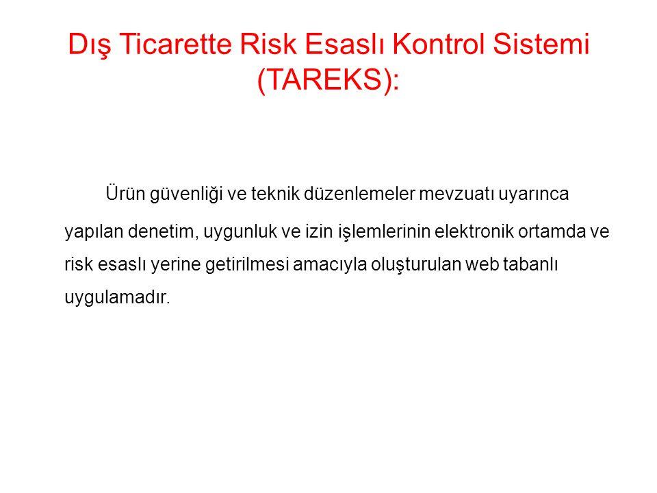 Dış Ticarette Risk Esaslı Kontrol Sistemi (TAREKS): Ürün güvenliği ve teknik düzenlemeler mevzuatı uyarınca yapılan denetim, uygunluk ve izin işlemlerinin elektronik ortamda ve risk esaslı yerine getirilmesi amacıyla oluşturulan web tabanlı uygulamadır.