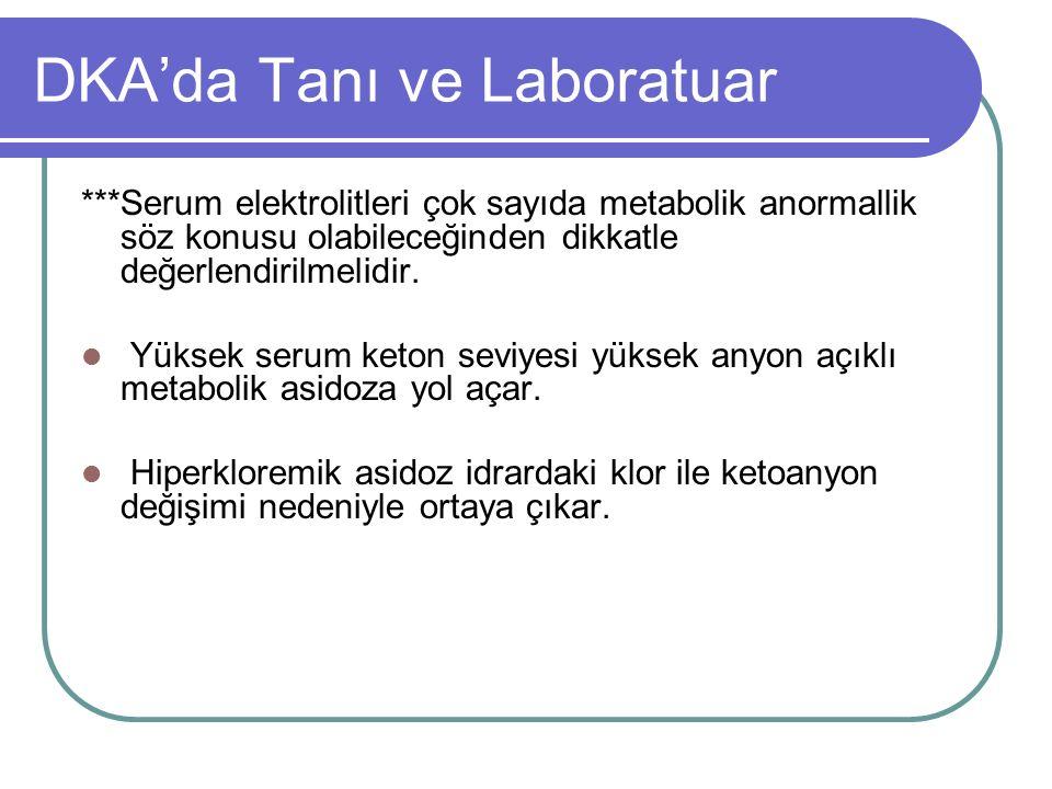 DKA'da Tanı ve Laboratuar ***Serum elektrolitleri çok sayıda metabolik anormallik söz konusu olabileceğinden dikkatle değerlendirilmelidir.