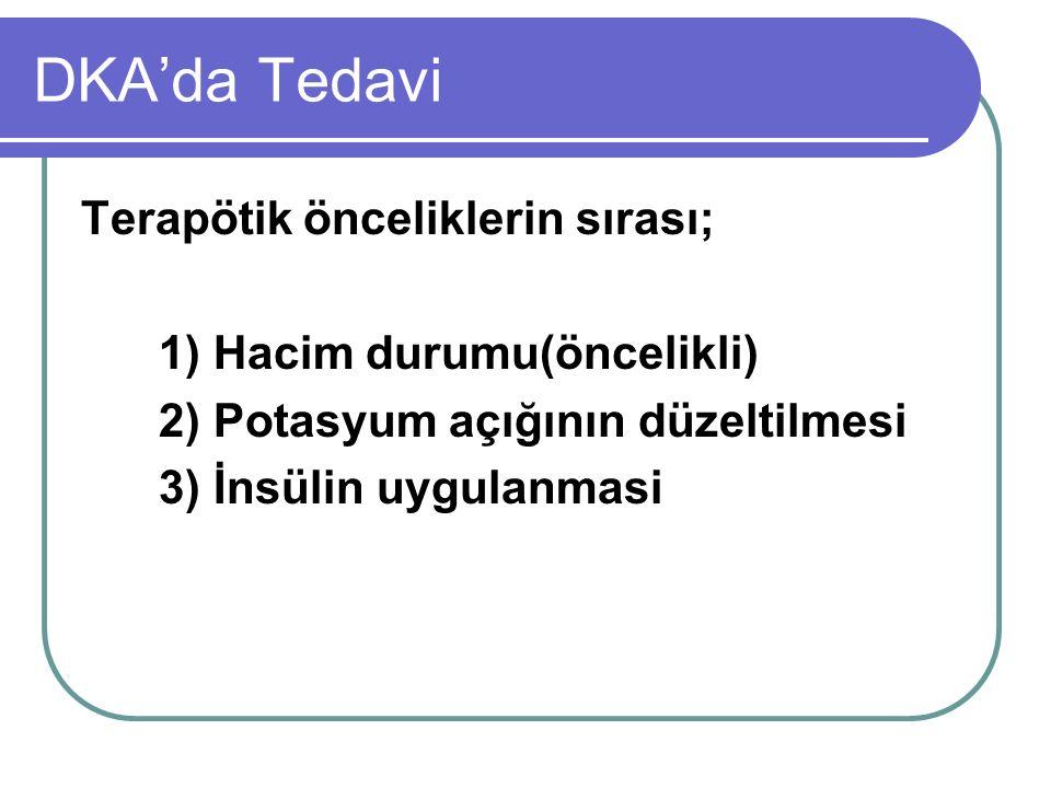 DKA'da Tedavi Terapötik önceliklerin sırası; 1) Hacim durumu(öncelikli) 2) Potasyum açığının düzeltilmesi 3) İnsülin uygulanmasi