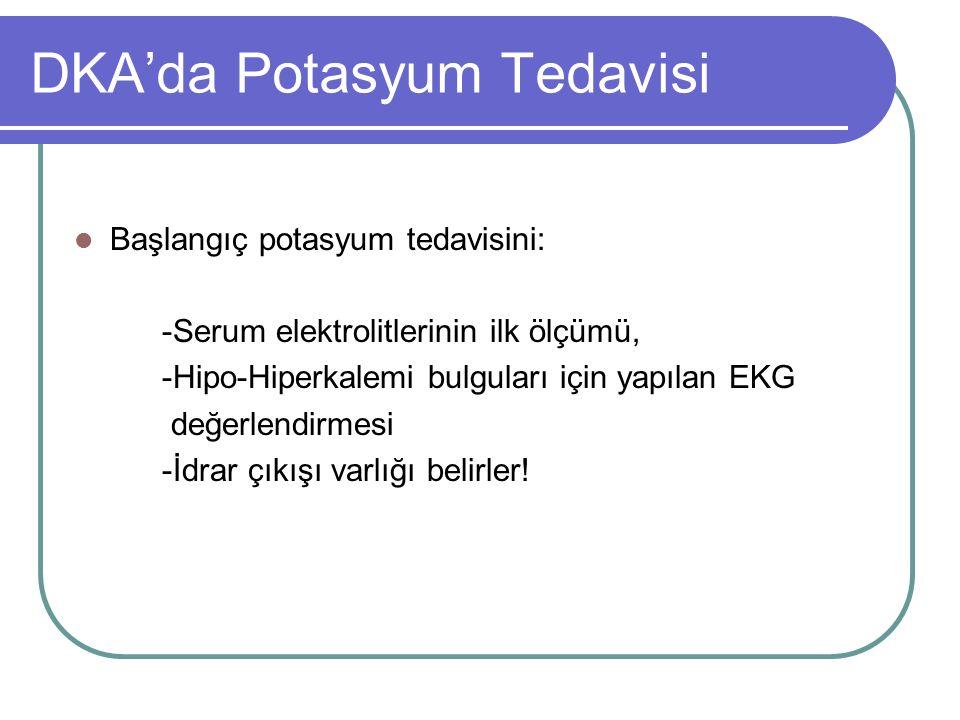 DKA'da Potasyum Tedavisi Başlangıç potasyum tedavisini: -Serum elektrolitlerinin ilk ölçümü, -Hipo-Hiperkalemi bulguları için yapılan EKG değerlendirmesi -İdrar çıkışı varlığı belirler!