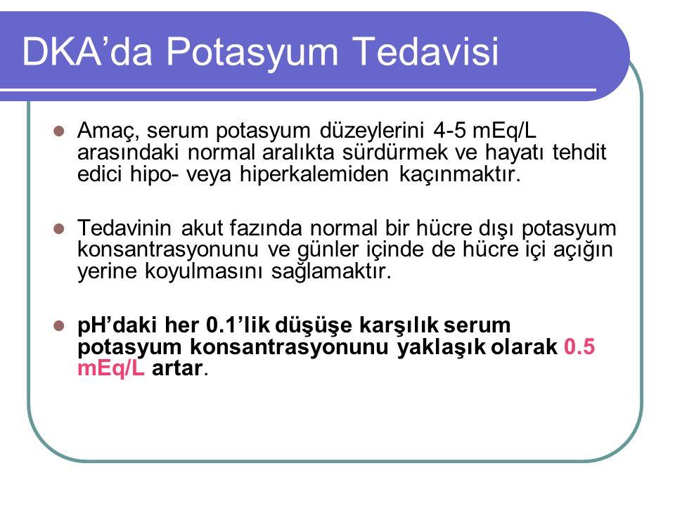 DKA'da Potasyum Tedavisi Amaç, serum potasyum düzeylerini 4-5 mEq/L arasındaki normal aralıkta sürdürmek ve hayatı tehdit edici hipo- veya hiperkalemiden kaçınmaktır.