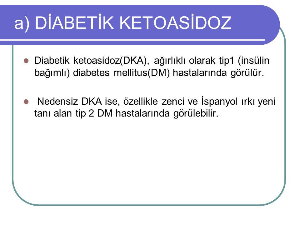 DKA'da Tanı ve Laboratuar ***DKA şüphesinde ilk aşama; Yatak başı tetkikle glukoz ve keton düzeyinin belirlenmesi, Yatak başı idrar tetkiki, EKG, Venöz kan gazının değerlendirilmesi Normal salin solüsyonunun (NS) iv infüzyonudur.