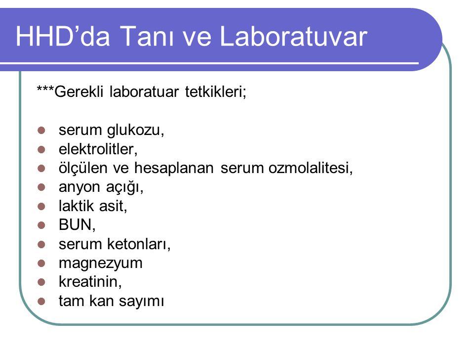 HHD'da Tanı ve Laboratuvar ***Gerekli laboratuar tetkikleri; serum glukozu, elektrolitler, ölçülen ve hesaplanan serum ozmolalitesi, anyon açığı, laktik asit, BUN, serum ketonları, magnezyum kreatinin, tam kan sayımı