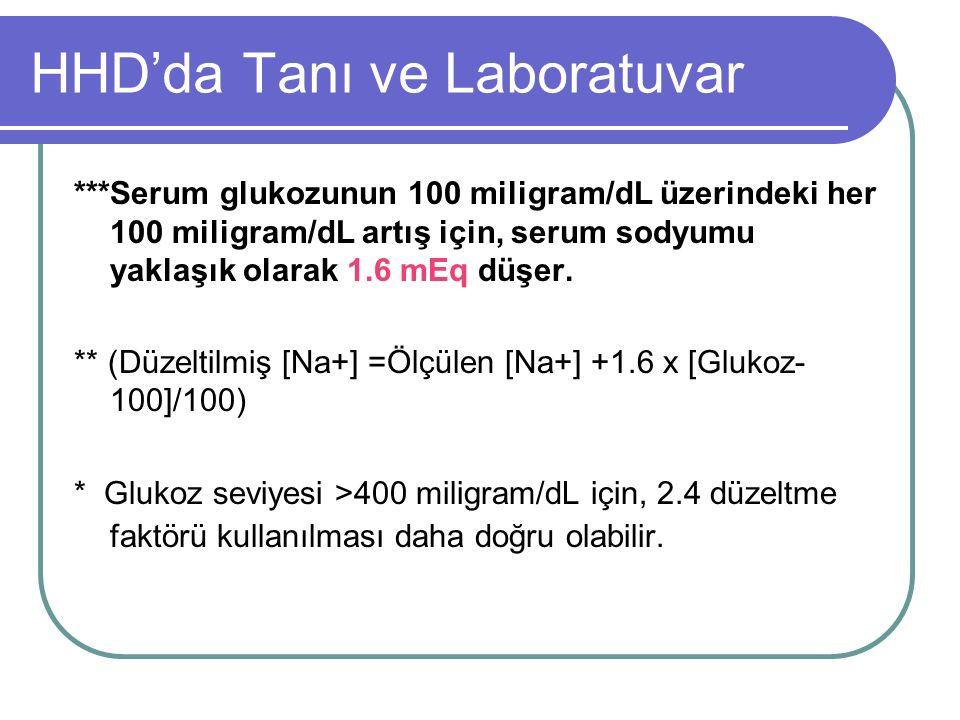 HHD'da Tanı ve Laboratuvar ***Serum glukozunun 100 miligram/dL üzerindeki her 100 miligram/dL artış için, serum sodyumu yaklaşık olarak 1.6 mEq düşer.