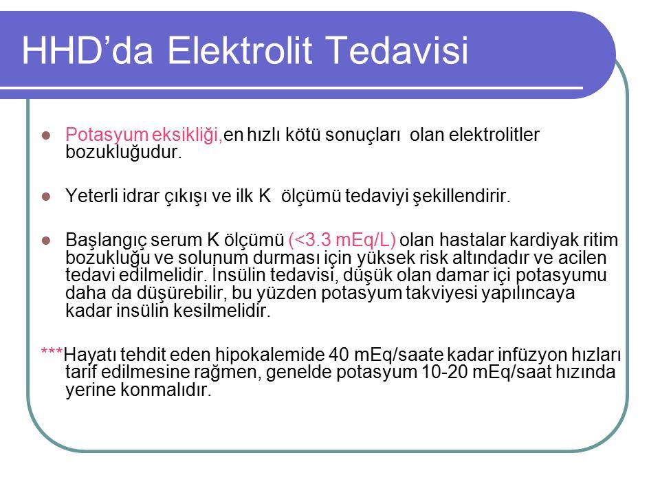 HHD'da Elektrolit Tedavisi Potasyum eksikliği,en hızlı kötü sonuçları olan elektrolitler bozukluğudur.