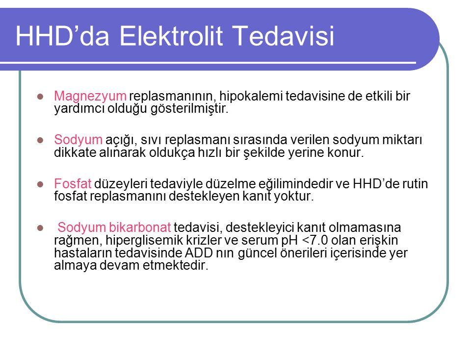 HHD'da Elektrolit Tedavisi Magnezyum replasmanının, hipokalemi tedavisine de etkili bir yardımcı olduğu gösterilmiştir.