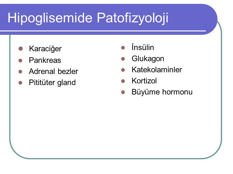 Hipoglisemide Patofizyoloji Karaciğer Pankreas Adrenal bezler Pititüter gland İnsülin Glukagon Katekolaminler Kortizol Büyüme hormonu