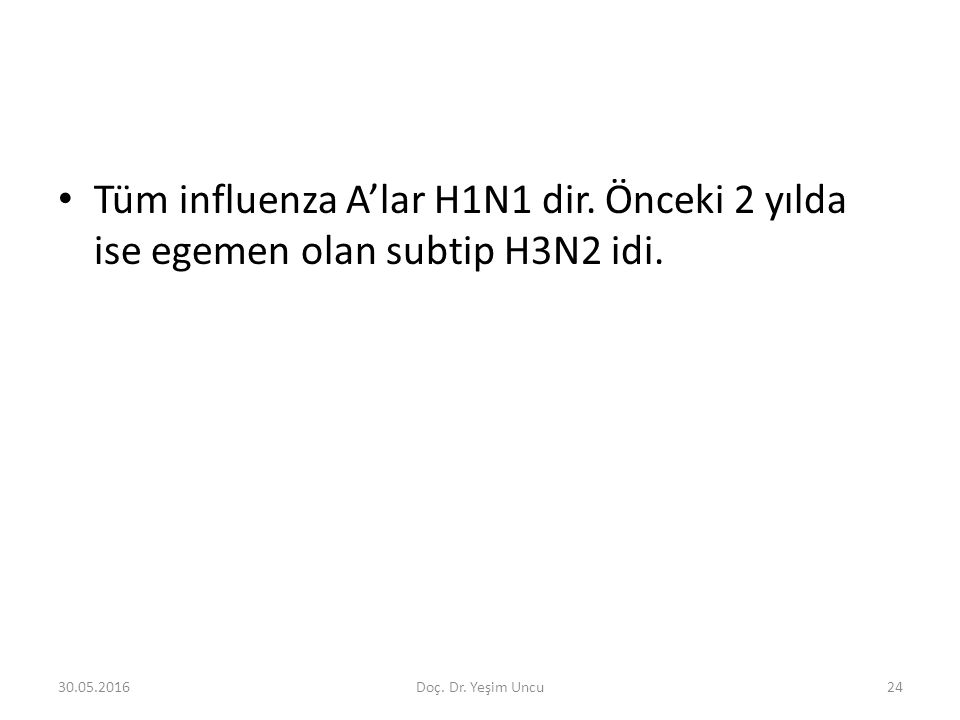 30.05.201624 Tüm influenza A'lar H1N1 dir. Önceki 2 yılda ise egemen olan subtip H3N2 idi.