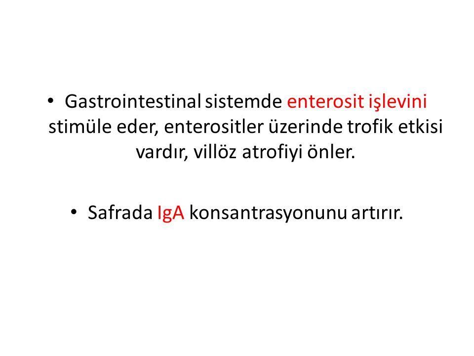 Gastrointestinal sistemde enterosit işlevini stimüle eder, enterositler üzerinde trofik etkisi vardır, villöz atrofiyi önler.