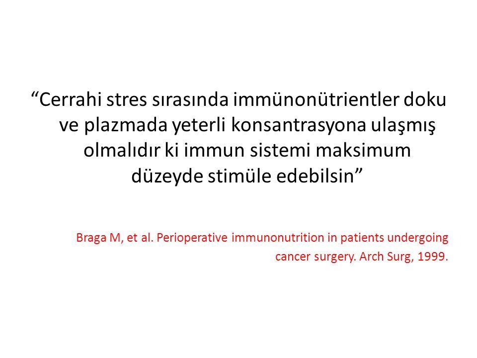 Cerrahi stres sırasında immünonütrientler doku ve plazmada yeterli konsantrasyona ulaşmış olmalıdır ki immun sistemi maksimum düzeyde stimüle edebilsin Braga M, et al.