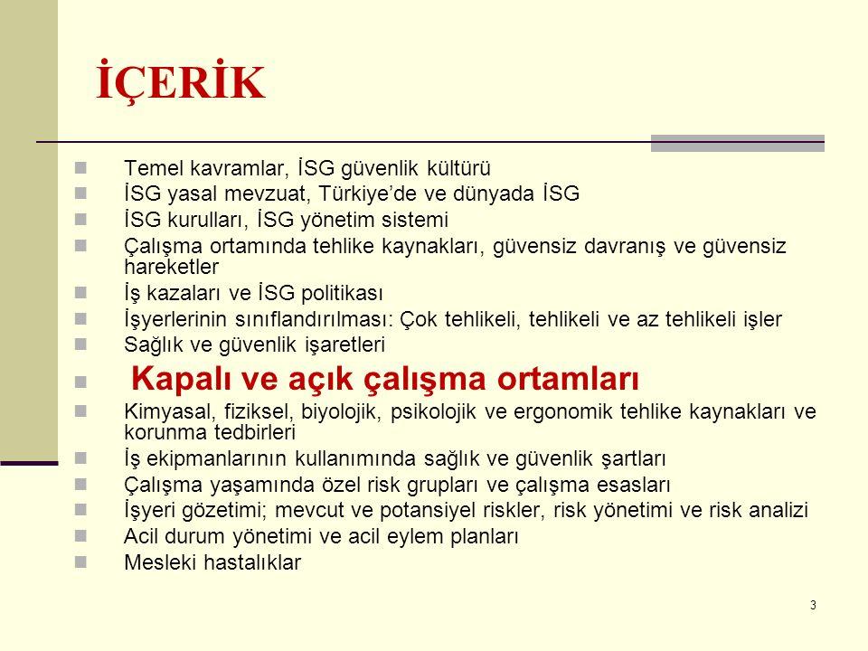 3 İÇERİK Temel kavramlar, İSG güvenlik kültürü İSG yasal mevzuat, Türkiye'de ve dünyada İSG İSG kurulları, İSG yönetim sistemi Çalışma ortamında tehlike kaynakları, güvensiz davranış ve güvensiz hareketler İş kazaları ve İSG politikası İşyerlerinin sınıflandırılması: Çok tehlikeli, tehlikeli ve az tehlikeli işler Sağlık ve güvenlik işaretleri Kapalı ve açık çalışma ortamları Kimyasal, fiziksel, biyolojik, psikolojik ve ergonomik tehlike kaynakları ve korunma tedbirleri İş ekipmanlarının kullanımında sağlık ve güvenlik şartları Çalışma yaşamında özel risk grupları ve çalışma esasları İşyeri gözetimi; mevcut ve potansiyel riskler, risk yönetimi ve risk analizi Acil durum yönetimi ve acil eylem planları Mesleki hastalıklar