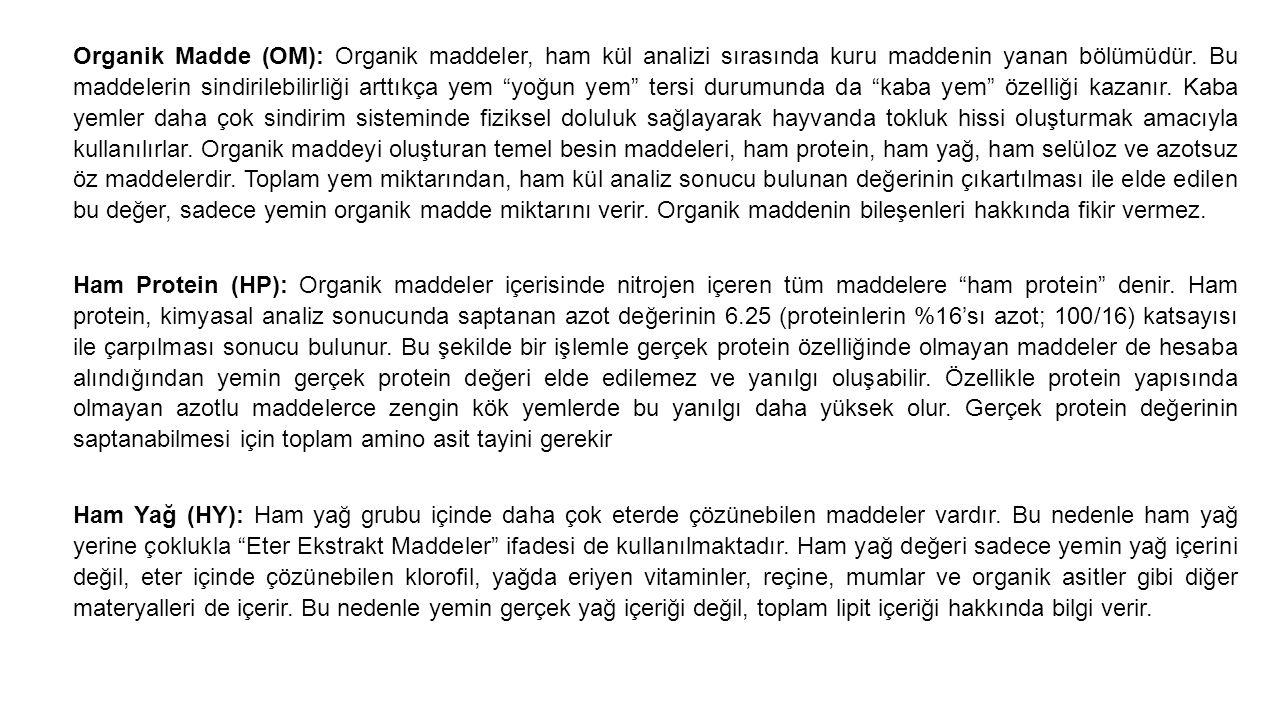 Organik Madde (OM): Organik maddeler, ham kül analizi sırasında kuru maddenin yanan bölümüdür.
