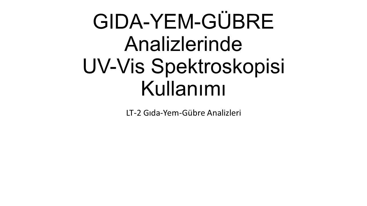 GIDA-YEM-GÜBRE Analizlerinde UV-Vis Spektroskopisi Kullanımı LT-2 Gıda-Yem-Gübre Analizleri