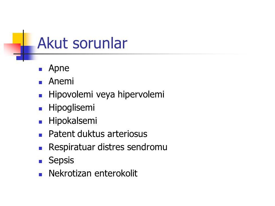 Akut sorunlar Apne Anemi Hipovolemi veya hipervolemi Hipoglisemi Hipokalsemi Patent duktus arteriosus Respiratuar distres sendromu Sepsis Nekrotizan enterokolit
